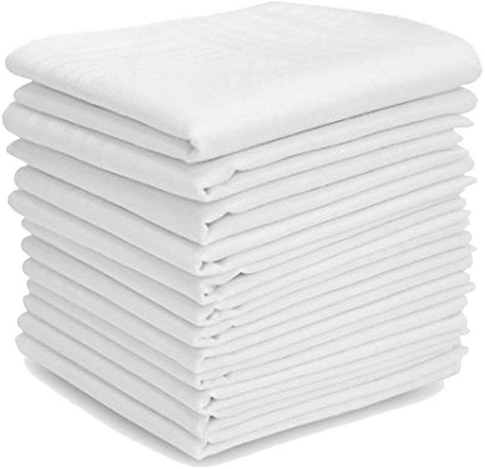 50 Pcs White Handkerchiefs Cotton Classic Hankies Pocket Square Towel Small Size for Kids Girl Boy Tea Parties
