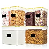 Juego de recipientes herméticos para Almacenamiento de Alimentos, dispensador de Cereales de plástico hermético, a Prueba de Fugas, dispensador de Cereales sin BPA |Harina, Azúcar, Pienso, A