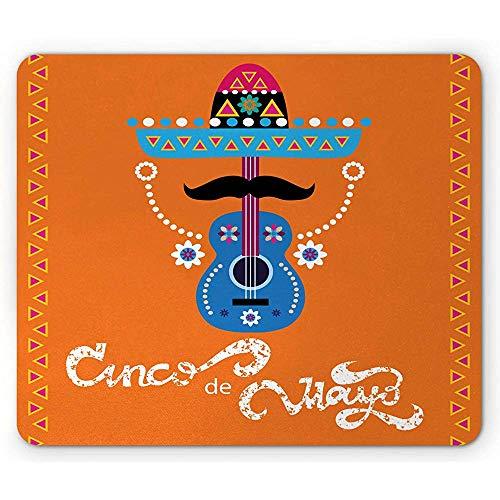 Cinco de Mayo muismat, Mexicaans met gitaar snor hoed en driehoeken, anti-slip rubberen muismat, 25x30cm oranje en Multi kleuren