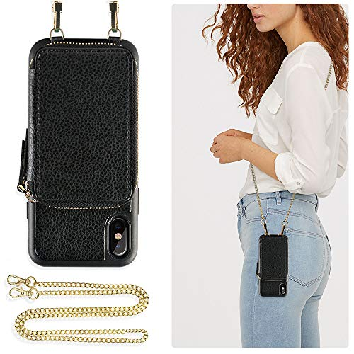 ZVE Case for Apple iPhone XS and X , 5.8 inch , Wallet Case with Crossbody Chain Strap Credit Card Holder Slot Zipper Shoulder Handbag Purse Wrist Strap Case Cover for Apple iPhone X and XS - Black