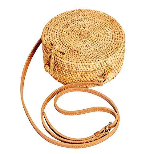 HANDMADE AND NATURE√ 100% Handmade, each straw bag is made from Vietnamese rattan ,durable, unique and environmental PERFECT SIZE√ Bag height20cm/7.87inches, Bottom thickness: 8cm/3.15inches; Can hold mobile phone, sunglasses, lipstick, wallet etc it...