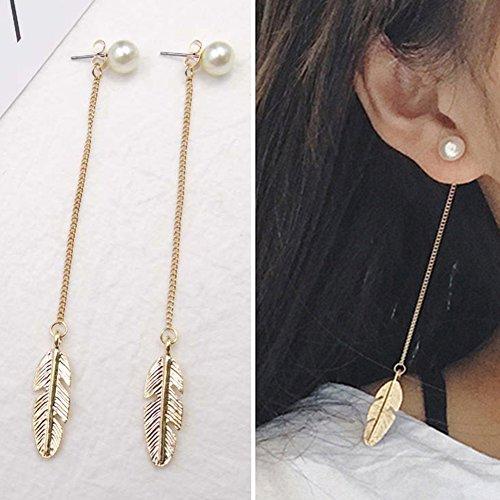 Gemini_mall, orecchini da donna e ragazza, eleganti orecchini pendenti con piume di perle, gioielli lunghi per San Valentino, festa della mamma, matrimonio, festa, Natale, regalo di compleanno