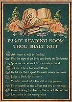 金属スズレトロロゴ、閲覧室では、あなたはできません、図書室規則金属ポスター、アンティークアルミロゴ家庭用コーヒーウォール装飾8x12インチ