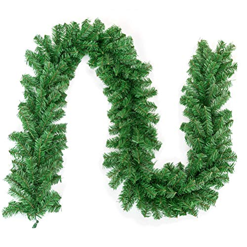 Hzemci Christmas Garland - 2.7M Christmas Realistic Artificial Garland, Home Window Garland, Christmas Greenery Garland, Holiday Garland, Used for Home, School, Office, Hotel, Shopping Center, Bar