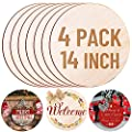 4 Pack 14 Inch Wood Circles for Crafts, Acejoz Round Wood Plywood Circles Unfinished Wood for Craft, Wood Discs for Door Hanger, Wood Burning, Painting and Christmas Decorations