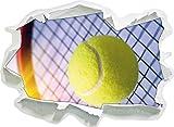 Tennis Raquette avec Balle de Tennis, Papier 3D Sticker Mural Taille: 62x45 cm décoration Murale 3D Stickers muraux Stickers