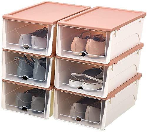 Zapatillas de zapatos Apilable zapato de plástico Rack de zapatos portátil, caja de clasificación, con un juego de puertas transparentes de 6, adecuado para zapatos deportivos, tacones altos, gabinete