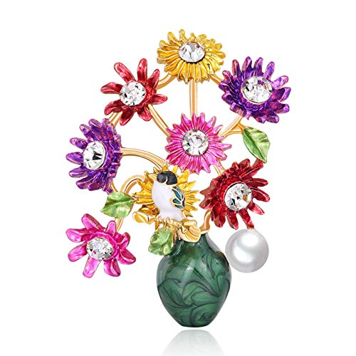 Brooches for Women, Fashion Flower Vase Rhinestone Inlaid Brooch Pin Corsage Lapel Jewelry - Multicolor