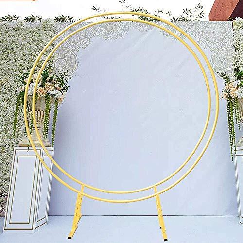 Arche de mariage en fer - 2 m - Arche ronde - Décoration de mariage - Arche - Arche de fond - Pour l'extérieur et l'intérieur (doré)