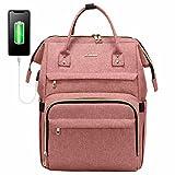 Zaino Donna porta PC 15,6 Pollici, LOVEVOOK Impermeabile Zaino Laptop Universita con Caricatore USB, Elegante Zaino per Computer Viaggi Lavoro Scuola Ufficio, Rosa
