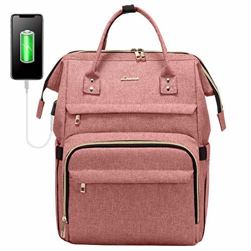 LOVEVOOK Rucksack Damen mit Laptopfach 15,6 Zoll, Wasserdicht Business Backpack Schulrucksack, Stylischer Rucksack Mädchen Schultasche Uni mit USB Ladeanschluss, Rechteckig Reischerucksack Rosa