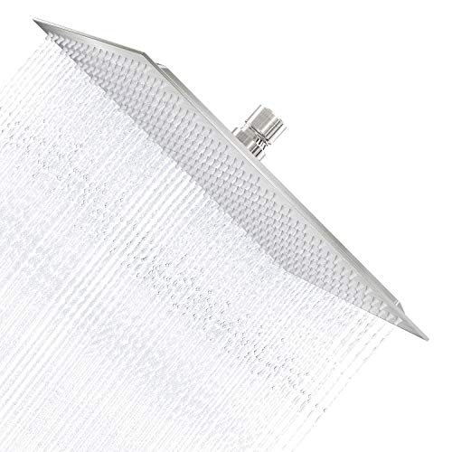 Derpras 16 Inch Square Rain Shower Head, 304 Stainless Steel, Ultra Thin High Pressure Bathroom Rainfall Showerhead (Brushed Nickel) (324 Jets)
