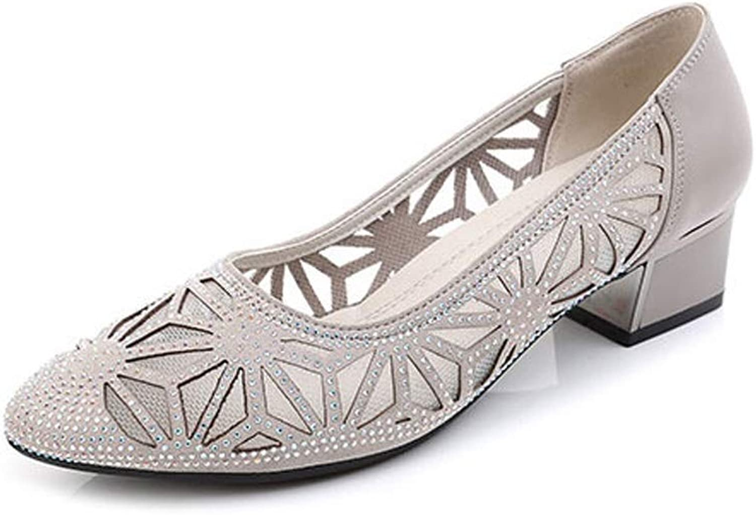 LANSEL Single shoes Spring and Autumn Thick with Hollow Mesh Rhinestones Breathable Women's shoes