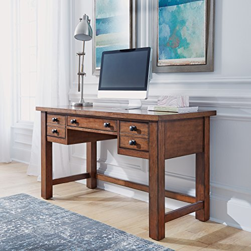 Home Styles Tahoe Aged Maple Executive Writing Desk with Two Accessory Drawers on Each Side, Drop-Down Center Drawer, Keyboard Tray, and Antiqued Bronze Pulls