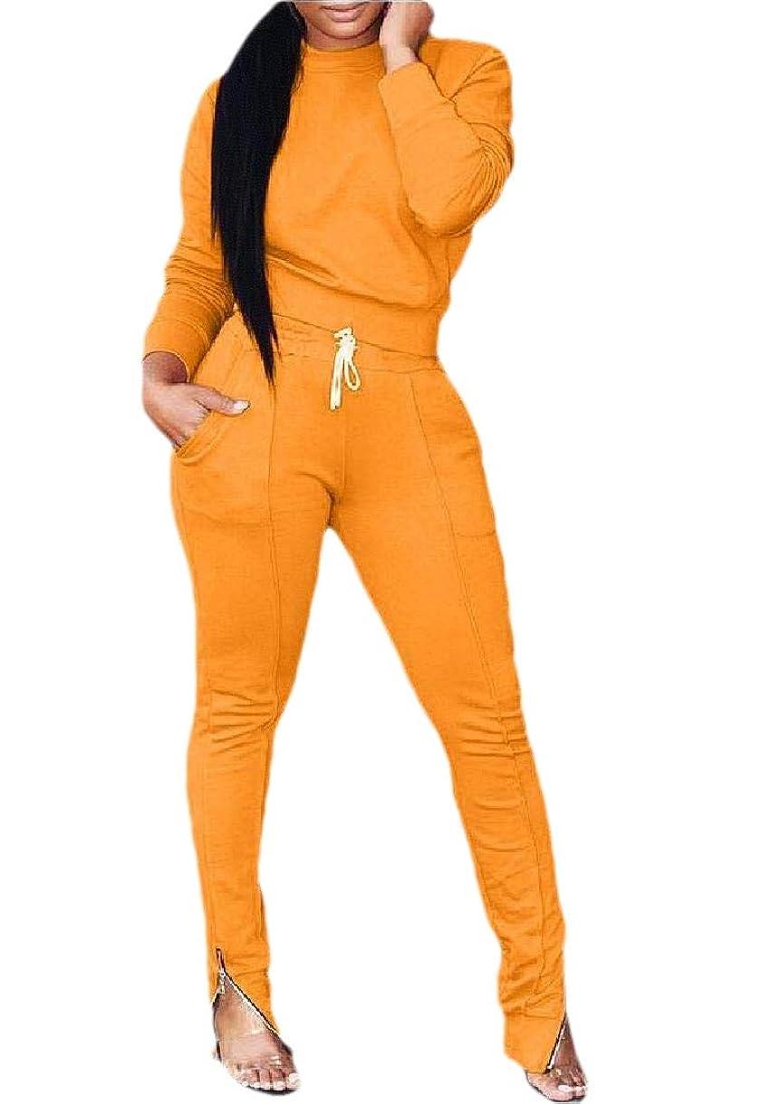 論理的にするライドレディース2ピース衣装ロングスリーブクロップトップボディコンロングパンツセットトラックスーツ