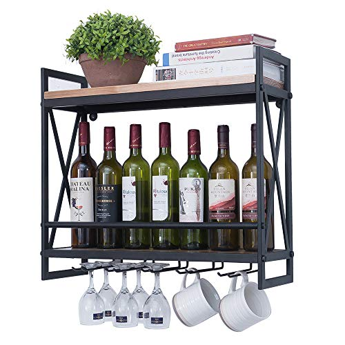 Industrial Wine Racks Wall Mounted with 6 Stem Glass Holder,23.6in Rustic Metal Hanging Wine Holder Wine Accessories,2-Tiers Wall Mount Bottle Holder Glass Rack,Wood Shelves Wall Shelf