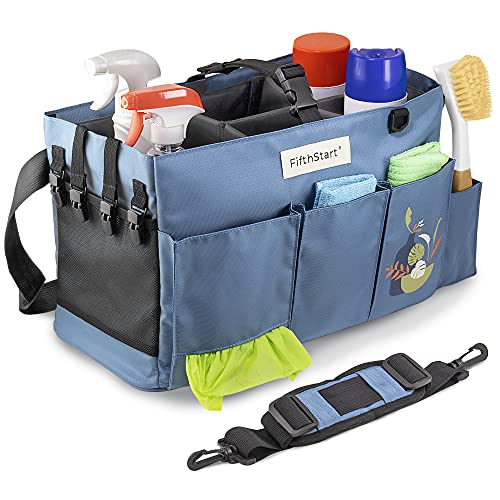 FifthStart Large Wearable Cleaning Caddy with Handle Caddy Organizer for Cleaning Supplies with Shoulder and Waist Straps, Car Organizer, Under Sink Organizer: (Blue, Large)