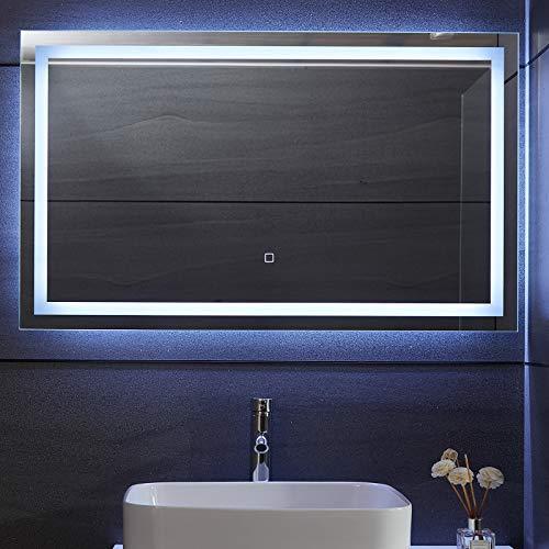 Aquamarin® Specchio Retroilluminato da Bagno - A++, Controllo Tattile, Controluce Bianca Fredda/Calda/Neutra, Antiappanamento, Dimensione a Scelta - Specchio LED Rettangolare, Parete (100 x 60 cm)