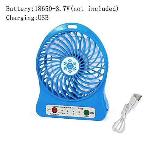 Ventilateur Silencieux Fan Été Mini Ventilateur Portable Ventilateur Réglable À 3 Niveaux pour Bureau À Domicile Bureau Voyage Ventilateur USB avec Lumière LED De Poche Bleu
