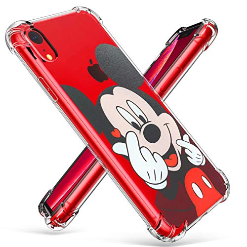 """Logee TPU Mickey Mouse Cute Cartoon Clear Case for iPhone XR 6.1"""",Fun Kawaii Animal Soft Protective Shockproof Cover,Ultra-Thin Chic Unique Funny Character Cases for Kids Teens Girls Boys(iPhoneXR)"""