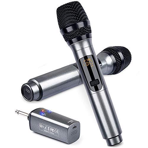 Wiederaufladbares drahtloses LEKATO-Mikrofon, Dual Metal Professional-Mikrofone UHF-schnurloses dynamisches Mikrofon-Handmikrofonsystem mit Empfänger für Karaoke-Gesangstreffen DJ Church Wedding Party