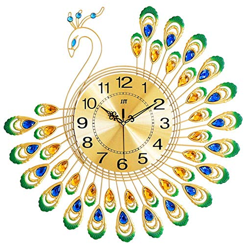 aasdf Peacock Wall Clock Decorative, Iron Modern Wall Clock, Peacock Shape Non Ticking Silent Clock for Living Room Decor Non-Ticking Kitchen Wall Clocks,38cm