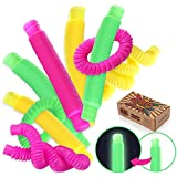 Pop Tube Sensory Fidget Toy Luminous Pop Tube for Kids & Adults, 6-Pack Educational STEM Toys for Construction and Building Activity, Helps Reduce Stress for Autism, ADHD & Children with Special Needs