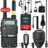 BaoFeng (UV-5R Pro 8-Watt) Ham Radio Walkie Talkie with 2 Rechargeable Battery, UHF/VHF Dual-Band 2-Way Radio Handheld Walkie Talkies Complete Set with Earpiece and Programming Cable