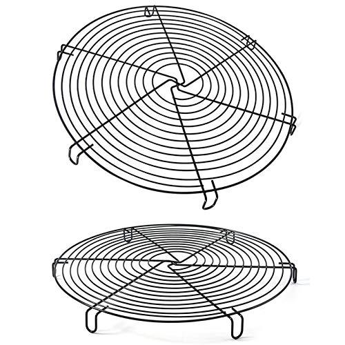 Rejilla de Enfriamiento para Tartas, 2 Pcs Redonda Rejillas para Enfriar Pastel Estante de Enfriamiento Antiadherente Enfriamiento Bandeja de Hornear para Enfriar, Hornear y Escurrir Diámetro 32cm