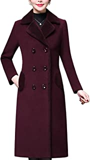 Aprsfn Women's Double-Breasted Notched Lapel Midi Wool Blend Pea Coat Jackets