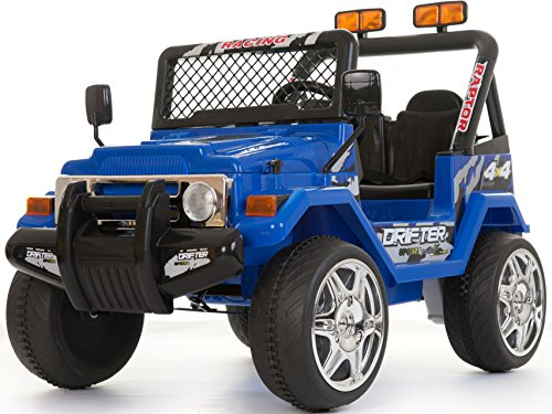 EPIC Bambini a 2 posti 12 V Electric/Battery Ride on Car/Jeep Wrangler Style 4 x 4 Blu