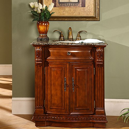 Silkroad Exclusive Granite Stone Top Single Sink Bathroom Vanity with Cherry Finish Cabinet, 33', Medium Wood