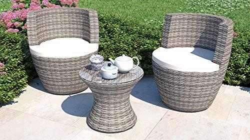 ARTELIA Ticino Polyrattan Set mit 2 Stühlen und 1 Tisch, Balkonmöbel Gartenmöbel Gartenmöbelset, Garten Terrasse Balkon, Ash Grau meliert