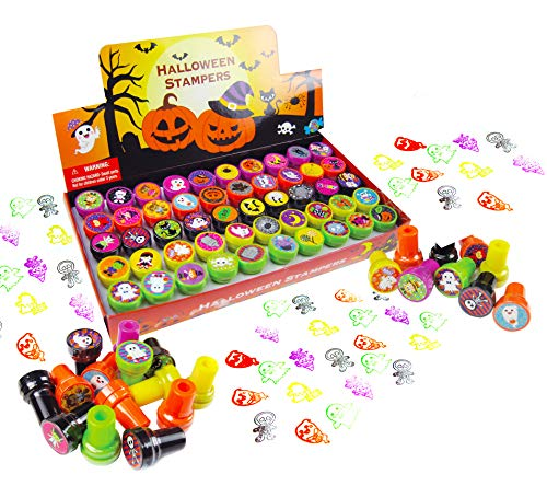 TINYMILLS 50 Pcs Halloween Stamps for Kids(Stamps 50 Different Designs,Trick or Treat Stamps) Halloween Party Favors for Kids, Game Prizes, Halloween Goodies for Kids, Non Candy Treat