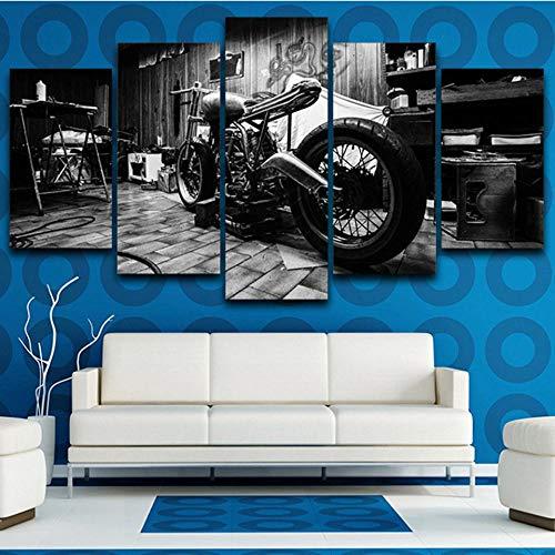 GIRDSS Tableaux Impressions sur Toile HD Imprimé Modulaire Toile Affiches 5 Parties Tableau Pièces décoration Vintage Moto Cadre Mur Art Peinture Décoration De La Maison Salon150x80cm
