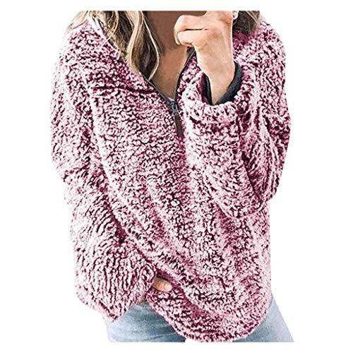 FRAUIT Damen Fleece Winterjacke Warm Mantel Woll Kapuzenpullover Elegante Zipper Hooded Sweatshirt Warm Weich Bequem Kleidung Bluse Top Outwear Coat