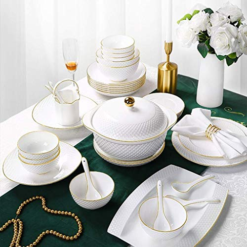 HZR Ceramics Dinnerware Set,Bowl/Dish/Soup Pot/Spoon|Bone China Dinner Sets,White Embossed Gold Rim Pattern Porcelain Combination Set,38pieces