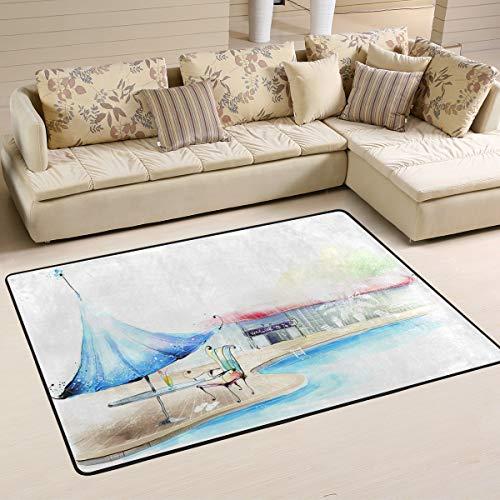 XiangHeFu Área Personalizada Alfombras Tiempo de Piscina 3'x2 '(36x24 Pulgadas) Alfombrillas de Piso Estera Suave para Sala de Estar Dormitorio Hogar Cocina Decorativa