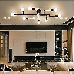 Industrial Edison 8 Lights Semi Flush Ceiling Light Vintage Wrought Iron Large Black Chandelier Ceiling Lamp #2