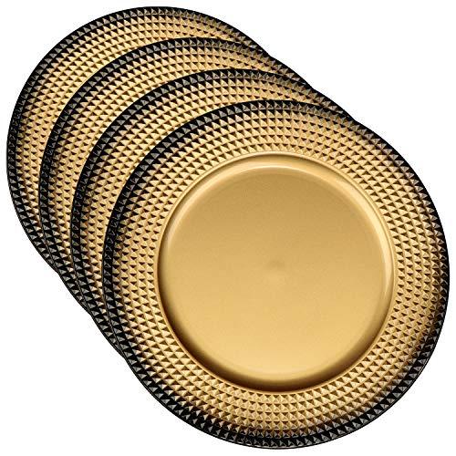 COM-FOUR® 4x Placa de asiento de plástico color oro - Platos de corona de adviento para Navidad - Platos...