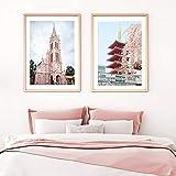 VCFHGVG Pink Vietnam Building Pagoda Puerta Arte de la Pared Lienzo Pintura Carteles nórdicos e Impresiones Cuadros de Pared para la decoración de la Sala de Estar 50x70cmx2 sin Marco
