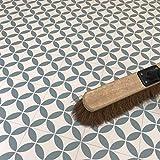 Image of Victorian Tile Effect Cushion Vinyl Flooring Sheet Kitchen & Bathroom Lino in Green Bertie Design Blenheim - Multiple Sizes Available (Sample)