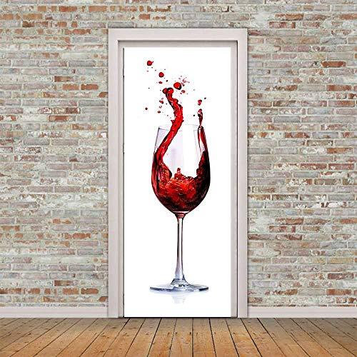SMHCHA 3d Pegatinas de Pared Sacudiendo la copa de vino de la frente 77X200CM Creativo mural de puerta Vinilo Impermeable Autoadhesivo Removible Papel Tapiz PVC Murales Posters Decoraciones