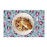 Eloria - Set di 6 tovagliette all'americana con motivo floreale, resistenti al calore, per tavolo da pranzo, in tela di cotone, colore: celeste, dimensioni: 45 x 30 cm