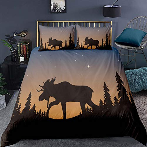Feelyou Moose Comforter Cover Queen,Moose and Tree Silhouettes on Ombre Starry Twilight Illustration Decorative 3 Pieces Bedding Set(1 Duvet Cover Set 2 Pillow Shams),Charcoal Grey with Zip Ties