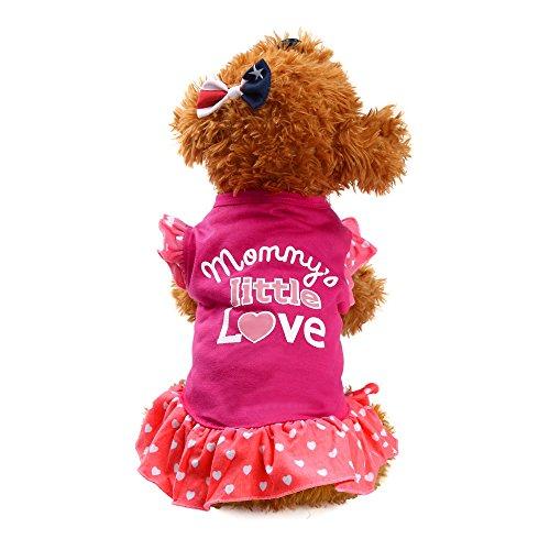 Vestido deportivo para mascotas Mommy's Little Love Brief con estampado para perros y gatos, para verano, color rosa, S
