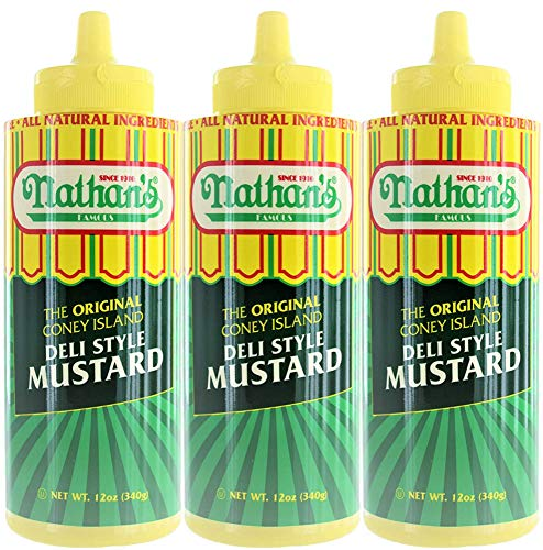 Nathan Coney Island Mustard, Squeeze Bottle, 12-ounce (Pack of 3)
