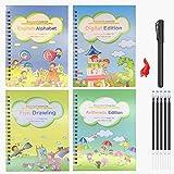 4pcs Magic Practice Copybook for Kids - The Print Handwiriting Workbook-Reusable Writing Practice Book (Alphabet Book with Pen) (Style Three)