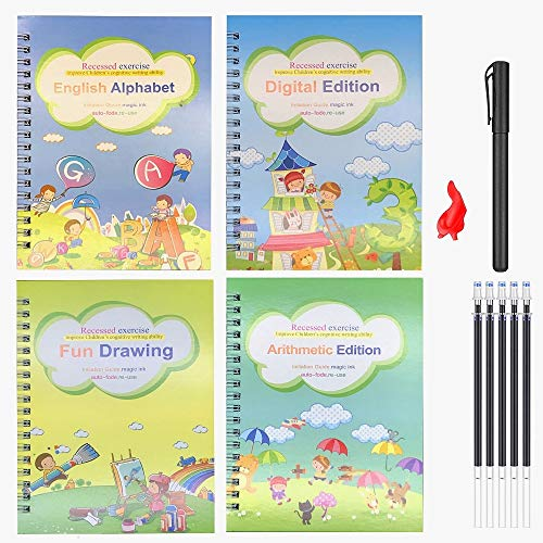 4pcs Magic Practice Copybook for Kids - The Print Handwiriting Workbook-Reusable Writing Practice Book (Alphabet Book with Pen) (Style Three)