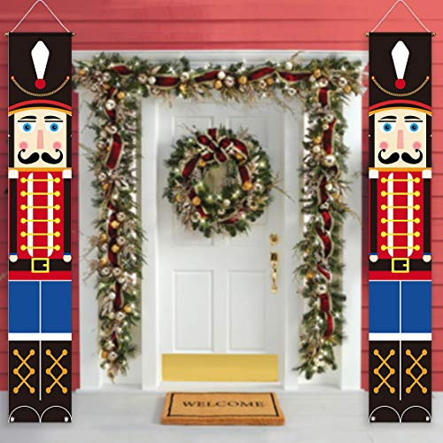 Allenjoy Trubetter Nutcracker Door Banner for Christmas Xmas Party Decorations Hanging Wall Welcome Porch Sign Front Outdoor Indoor Polyester Decor 11.8x70.9 Inch Windproof Home Events Supplies 2PCS